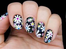 electric daisy floral print nail art chalkboard nails
