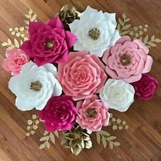 pre made rose paper flowers wedding party backdrop wall