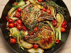 pan seared pork chops with roasted fennel and tomatoes