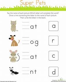 write the missing letter super pets kindergarten