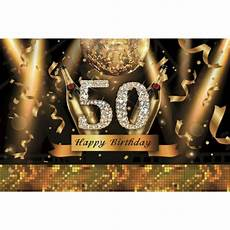 5x7ft Vinyl 50th Happy Birthday Black 5x7ft vinyl 50th happy birthday black gold theme