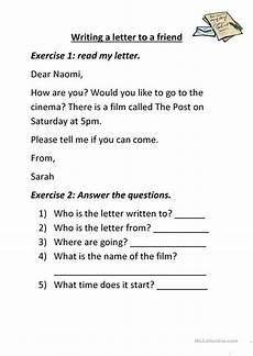 letter comprehension worksheets 23049 writing a letter to a friend worksheet free esl printable worksheets made by teachers