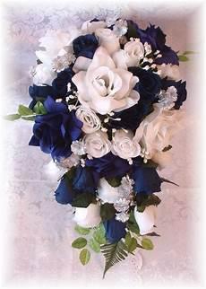 marine wedding bouquet 21pc navy blue white silver by petalnpink beautiful wedding flowers