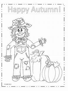happy autumn scarecrow coloring page my big happy