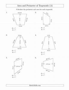 measurement area and volume worksheets 1628 the calculating the perimeter and area of trapezoids larger numbers a math worksheet from