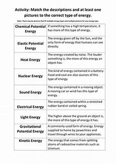 types of energy worksheet types of energy match up activity by maryalex teaching