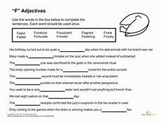 worksheets for middle school students 18572 adjectives starting with quot f quot worksheet education