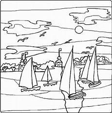 viele segelboote ausmalbild malvorlage landschaften