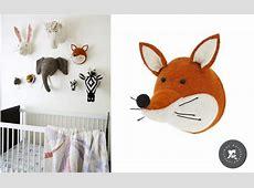 Fox Head Wall Trophy, Wall Decors for Kids Room, Felt