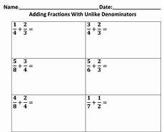 5th grade math worksheet adding fractions with unlike denominators adding fractions with unlike denominators 5 nbt a 1 1