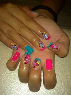 bright colors nails flower nails nail designs