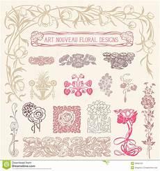 Nouveau Floral Ornaments Stock Vector Illustration