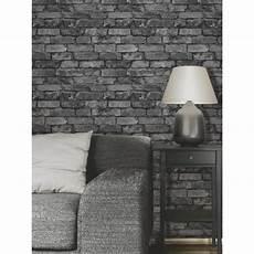 papier peint effet de brique gris noir achat vente