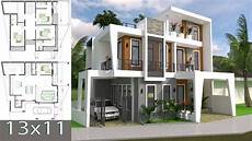 home design plan 13x11m with 4 bedrooms plot 13x15 sketchup villa design full plan youtube