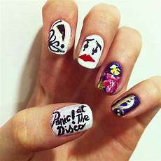 a series of my favourite bands made nail art panic at
