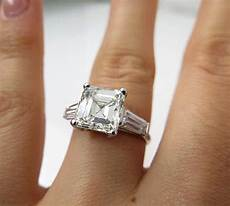 4 02ct estate vintage solitaire asscher square emerald cut diamond engagement wedding ring