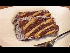 zebrakuchen ohne backen mit nur keksen und pudding