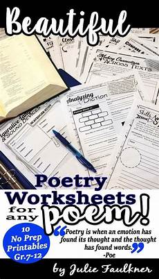 printable poetry worksheets for middle school 25329 poetry worksheets analysis comprehension any poem traditional print format with images