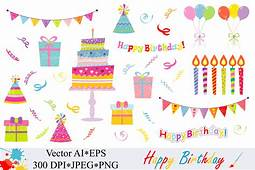 Happy Birthday Clipart  Vector Graphic By VR Digital