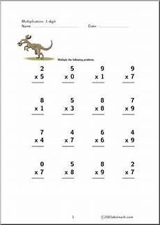 multiplication 1 digit 4 worksheet abcteach