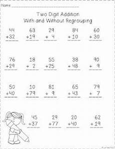2nd grade math worksheet addition with regrouping two digit addition with and without regrouping free