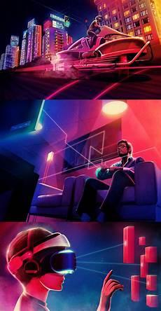 Neon Retro Cyberpunk Wallpaper by Lighting 80s Album Cover Lights