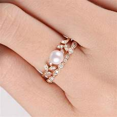 pearl and diamond wedding ring pearl rose gold engagement ring flower bridal ring