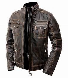 Cafe Racer Biker Jacket cafe racer distressed brown leather motorcycle jacket