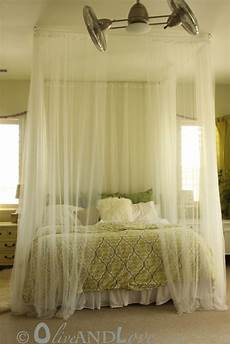 Olive And Ceiling Mounted Bed Canopy