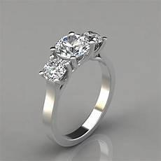 three stone cross prong cut engagement ring puregemsjewels