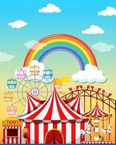 Malvorlagen Regenbogen Am Himmel Vergn 252 Gungsparkszene Am Tag Mit Regenbogen Im Himmel