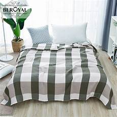 plaid adulte personnalisé beroyal brand blanket 1piece 200 230cm 100 cotton blanket three layers gauze plaid blanket