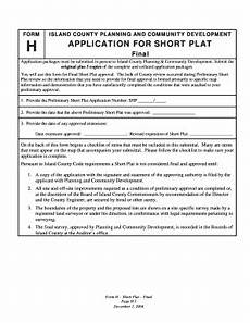 fillable online application for short plat island county government fax email print pdffiller