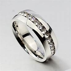 men rings stainless steel cz channel polish promise