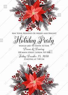 poinsettia fir winter merry christmas party invitation card template pdf 5x7 in customize online
