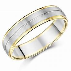 6mm men s palladium and 9ct yellow gold wedding ring two