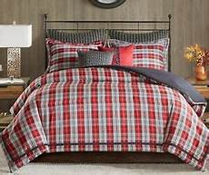 red plaid 4pc queen comforter set lodge cabin red black
