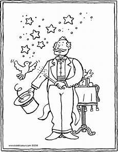 ausmalbilder zirkus zauberer zauberer kiddimalseite