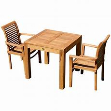 tisch sessel teak set gartengarnitur bigfuss tisch 80x80 cm 2 sessel