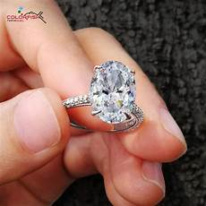 colorfish luxury 5 carat oval cut solitaire engagement