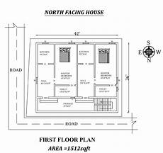 north facing house plan as per vastu 42 x 36 single bhk north facing first floor house plan