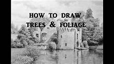how to draw landscapes trees foliage graphite pencil drawing tips youtube
