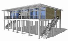 beach house plans pilings modern piling loft style beach home plan 44073td