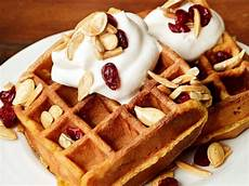 pumpkin waffles with trail mix topping recipe claire robinson food network