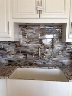 Glass Subway Tiles For Kitchen Backsplash Fused Glass Streaky Brown Subway Tile For Kitchen