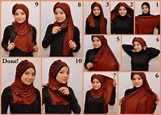 Cara Memakai Jilbab Pashmina Kaos Modern Glitter