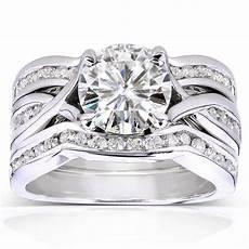 annello by kobelli 14k white gold moissanite and 3 4ct tdw diamond 3 piece brida ebay