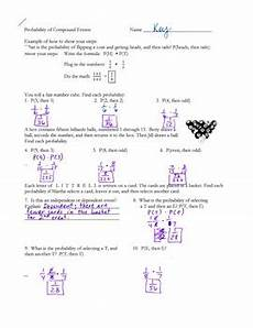 probability of compound events worksheet with answer key 5980 probability compound events independent and dependent by h