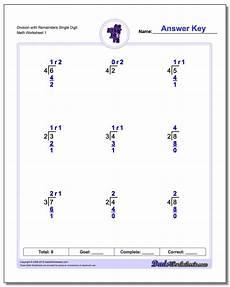 single digit division math worksheet division worksheets