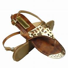 flat gold metal tip plated back sandals brown size 5 5 11